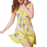 Women Sexy Adjustable Strap Floral Printing Sleepwear Sets With Panties Nightdress