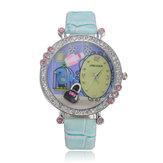 Cute Candy Color Leather Crystal Beads Cartoon Resin Quartz Wrist Watch