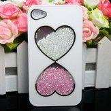 Colorful Double Heart  Diamond Hard Case Cover For iPhone 4 4S