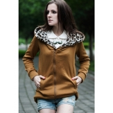 China Wholesale Zanzea Leopard Hooded Zipper Coat