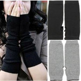 Lady Trendy Fingerless Long Knit Gloves Soft Winter Heater Xmas Gift