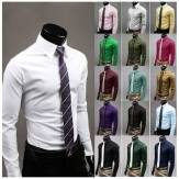 China Wholesale 17 Colors Fashion Unique Neckline Men Slim Long Sleeve Dress Shirt