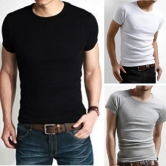 China Wholesale A&S Men's Slim Crew Neck Solid Cotton Short Sleeve Tee T-shirt