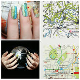 Map Stamped Pattern Design Nail Art Water Decal Sticker