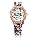 China Wholesale Geneva Leopard Crystal Roman Number Rubber Women Wrist Watch