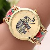 Women Girls Knitted Rope Elephant Bracelet Chain Wrist Watch