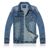 Men's Stonewashed Graphite Cusual Jean Jacket Street Style