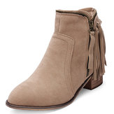 Women's Autumn Winter Tassel Faux Suede Ankle Boots Flat Zipper Shoes