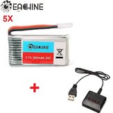 5x Eachine 3.7v 380mah Lipo Battery with 4 In 1 X4 Battery Charger for H107L H107C H107D