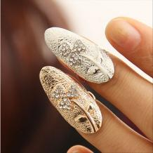 Europe Adjustable Rhinestone Clover Surface Nail Finger Ring Jewelry