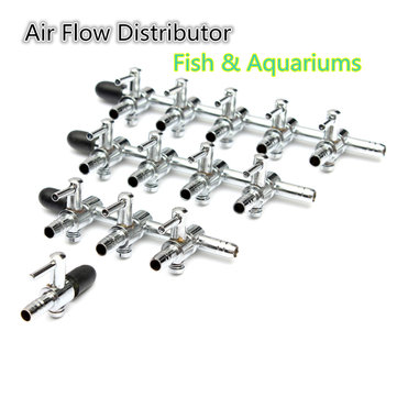 Stainless Steel Aquarium Fish Tank Air Flow Distributor 1-4 ways Lever Control Valve