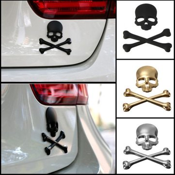 Car 3D Skeleton Skull Bone Emblem Badge Logo Metal Sticker Decal
