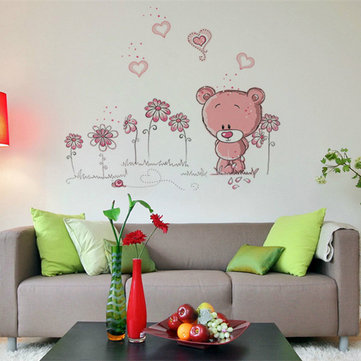 Cartoon Pink Bear Wall Sticker Home Decor Girl Kid Room Decoration