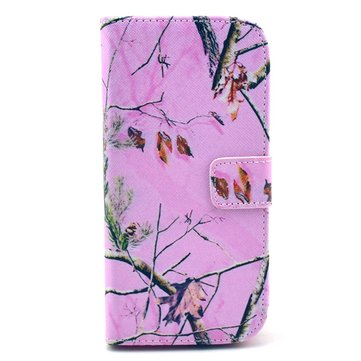 Pink Branch TPU Leather Protective Case For HTC ONE M8 Smartphone