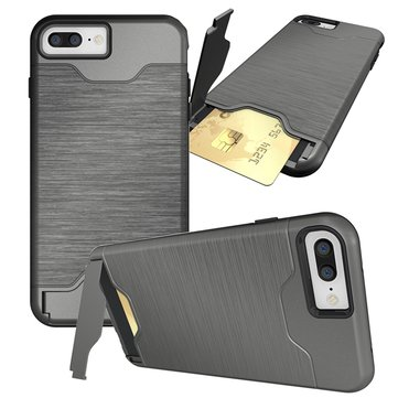 Hidden Card Slot Kickstand PC TPU Dual Protection Shockproof Dropproof Case For iPhone 7 Plus