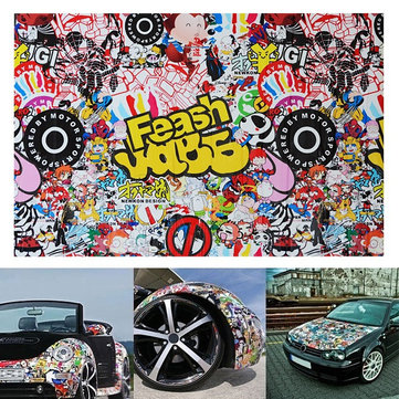 30 X 20 Inch Car Sticker Graffiti Monkey Cartoon Pattern Auto Surface Modification