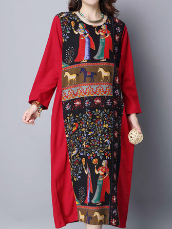 Vintage Robe Women Patchwork Print Long Sleeve Loose Maxi Dress