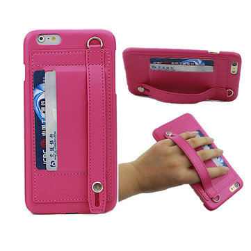 New Fashion Hand Strap Buckle Leather Case With Card Slot Stand Case Cover For iPhone 6 Plus