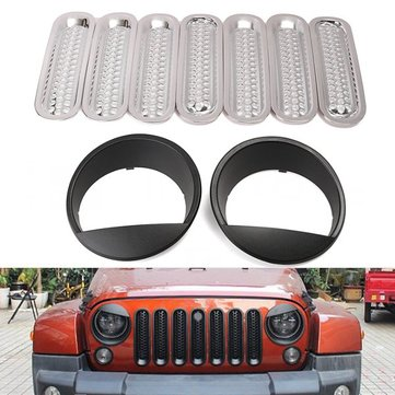 7pcs Mesh Grill Inserts Cover & 2pcs Headlight Bezels Trim For 2007-2016 Jeep Wrangler JK