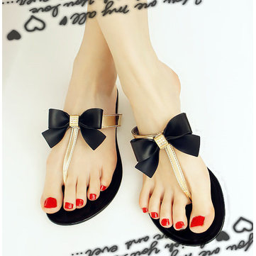 Women Summer Beach Sandals Butterfly Flip flops Breathable T-strappy Slippers