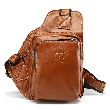 Men Business Genuine Real Leather Casual Outdoor Chest Crossbody Bag