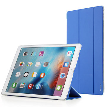 Rock Slim PU Leather Magnetic Transparent Back Smart Cover Case For iPad Pro 12.9 inch