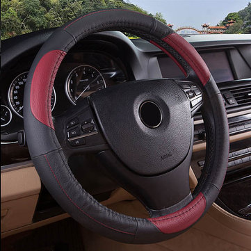 15 Inches Size Genuine Cowhide Leather Steering Wheel Cover for Universal Car