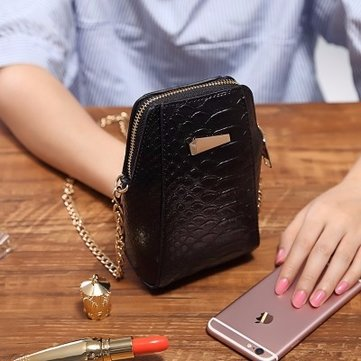 Mini Crocodile Pattern Chain Hardware Key Cosmetic Messenger Shoulder Shell Bag For iPhone Samsung