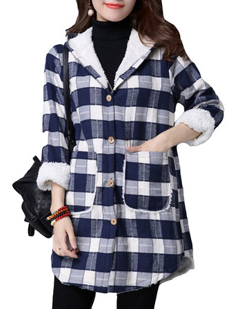 Casual Women Plaid Long Sleeve Hooded Fleece Thick Coat