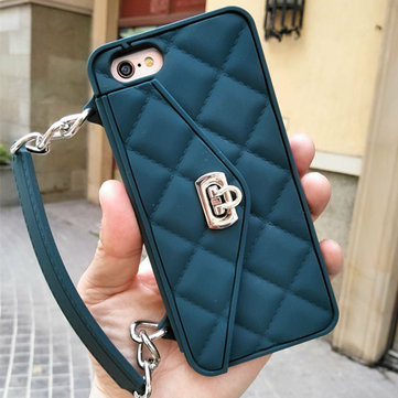 Lady Elegant Silicone Anti-drop Portable Clutch Chain Bag Holder Card Wallet Case For iPhone 7