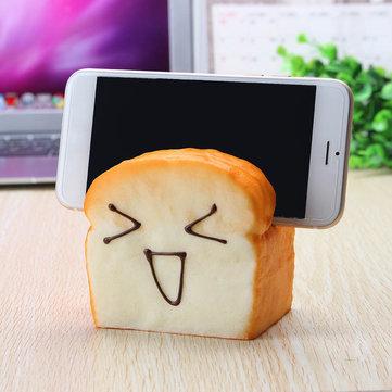 Jumbo Squishy 7 Seconds Slow Raising Slice Toast Joy Happy Faces Mobile Phone Seat Cellphone Holder