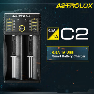 Astrolux C2 0.5A/1A Li-ion Ni-MH Smart USB Battery Charger