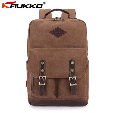 KAUKKO British Style Canvas Casual Backpack Campus Computer Bag