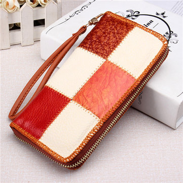 Women Contrast Color Long Manual Wallet Ladies Casual Clutches Card Holder Coin Bags