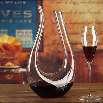1500ml Luxurious Crystal Glass U-shaped Horn Wine Decanter Wine Pourer Red Wine Carafe Aerator