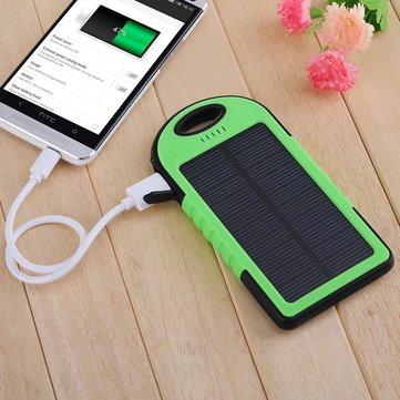 5000mAh External Solar Power Bank Battery Charger Dual USB With Charging Cable For Mobile Phone 1077480