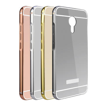 Luxury Metal Frame Mirror PC Back Cover Durable Case Skin Bumper For MEIZU MX5
