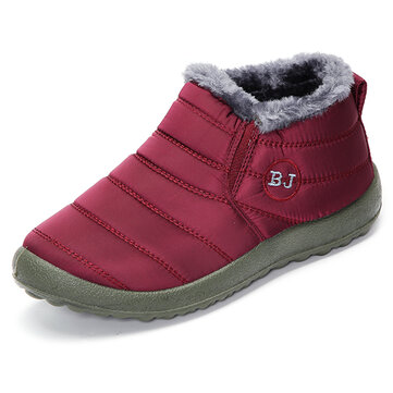 Warm Wool Lining Slip On Flat Ankle Snow Boots For Women - US$24.99