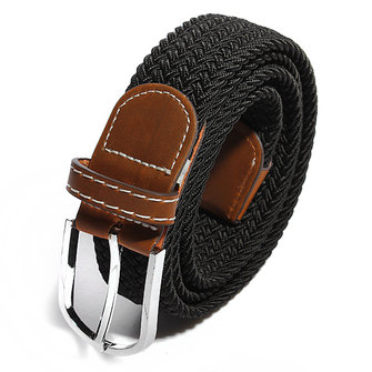 Unisex Men Stretch Braided Elastic Woven Leather Buckle Belt