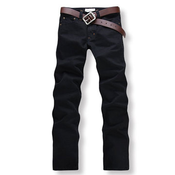 Black Jeans Mens Straight Casual Jeans Slim Fit Pants - US$21.98