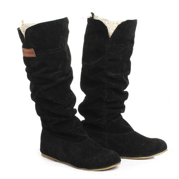 Original Women Knee High Boots Lace Cuff Increased Internal Woolen Shoes