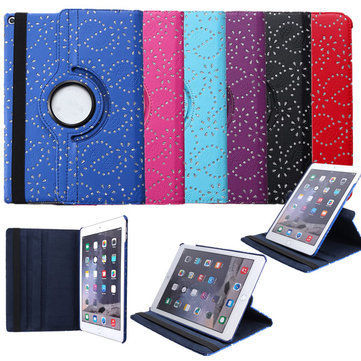 360 Angle Rotating Diamond Bling PU Leather Case Cover Stand For iPad Air 2