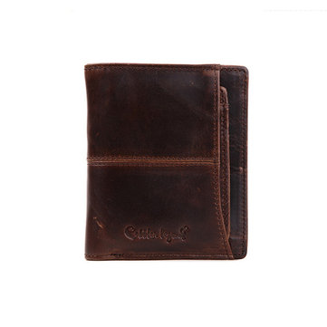 Cobblerlegend Men Vertical Retro Cowhide Leather Bifold Money Bag Male Wallet