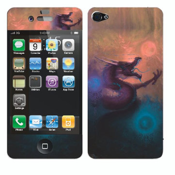 Roaring Dragon Pattern Back And Front Screen Protector For iPhone 4 4S