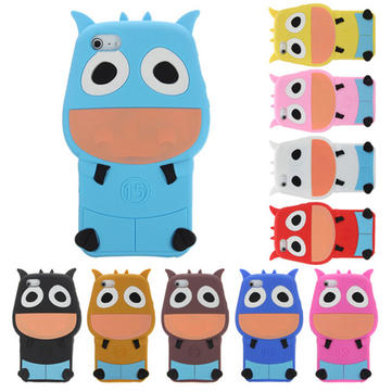 Cute Cartoon Cattle Shape Silicon Protective Case Cover For iPhone 5