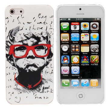Glasses Boy Pattern Leather Hard White Back Cover Case For iPhone 5