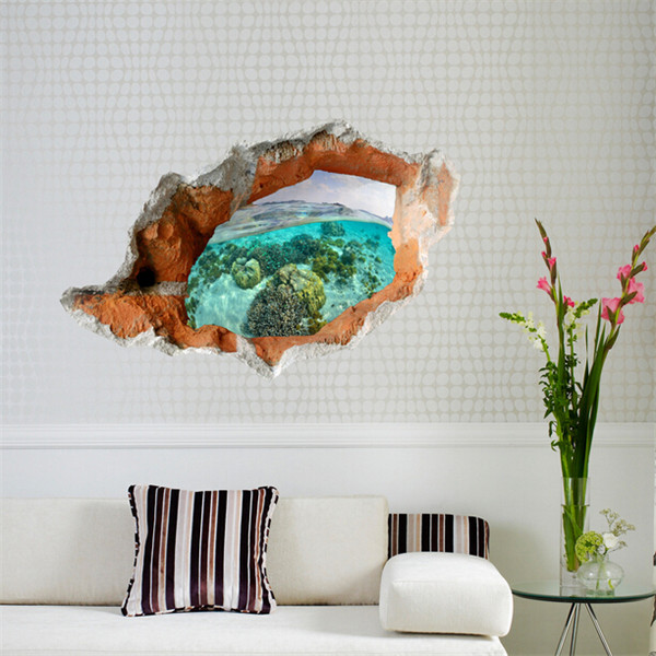 3D Under Water World Wall Decals Removable Scenery Wall