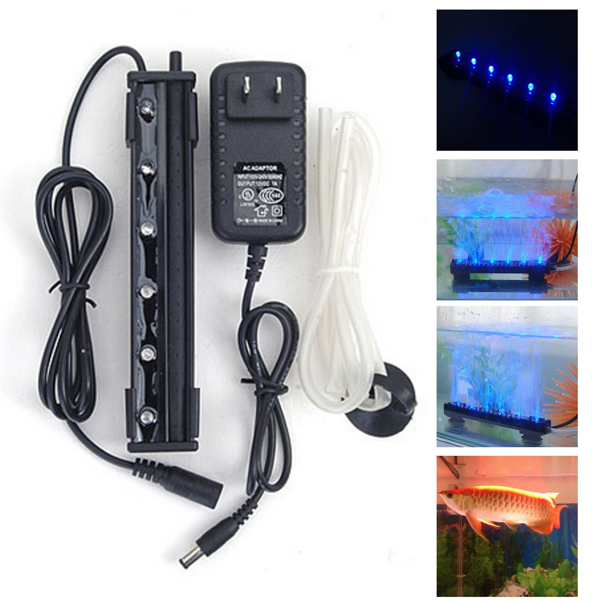 12V 1.2W 6 LED Blue Air Bubble Light Under Water Submer