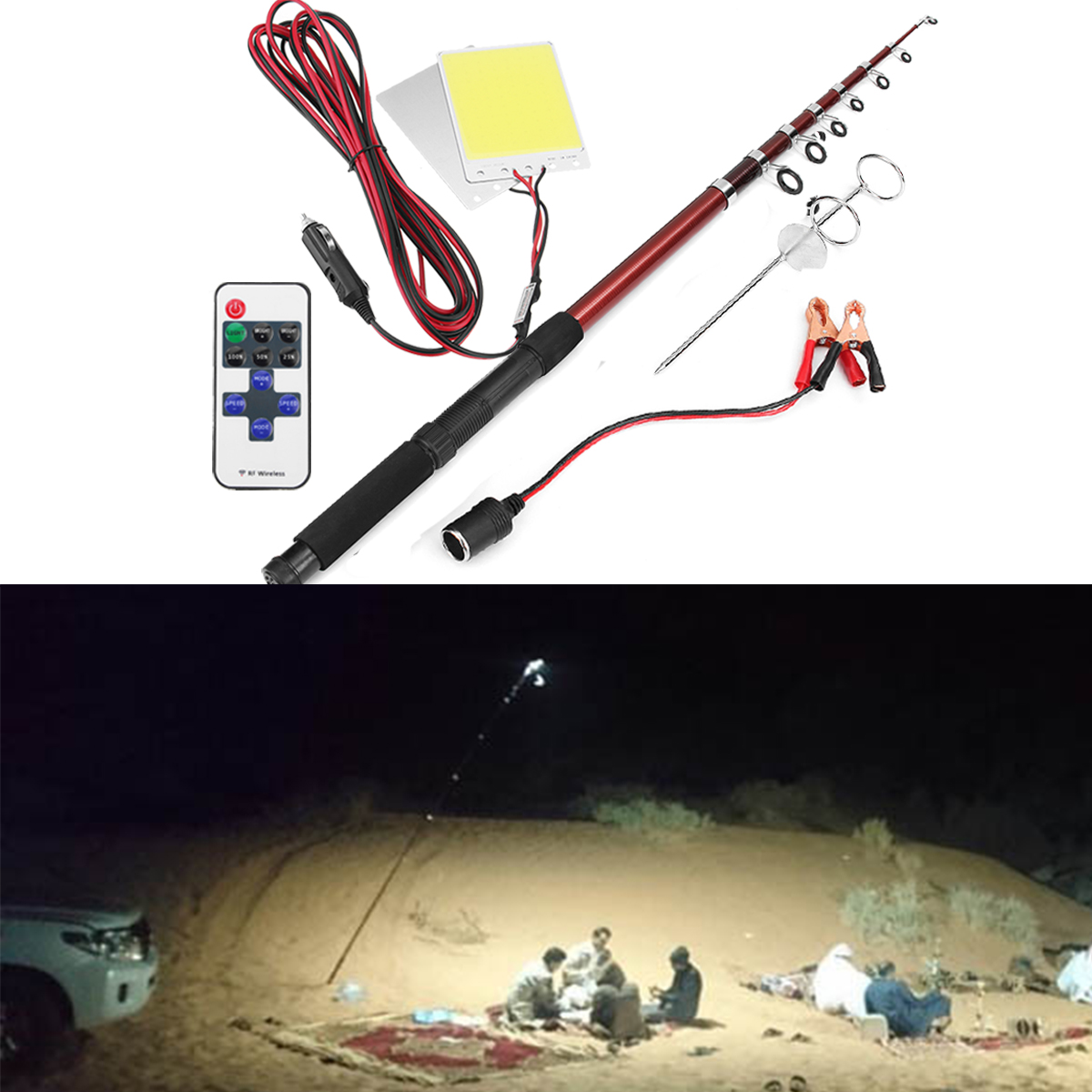 12V 2*96W Telescopic Fishing Lamp Car Rod Light LED Cam