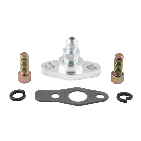 Turbo Oil Feed Inlet Flange Gasket Adapter Kit 4AN 4 AN